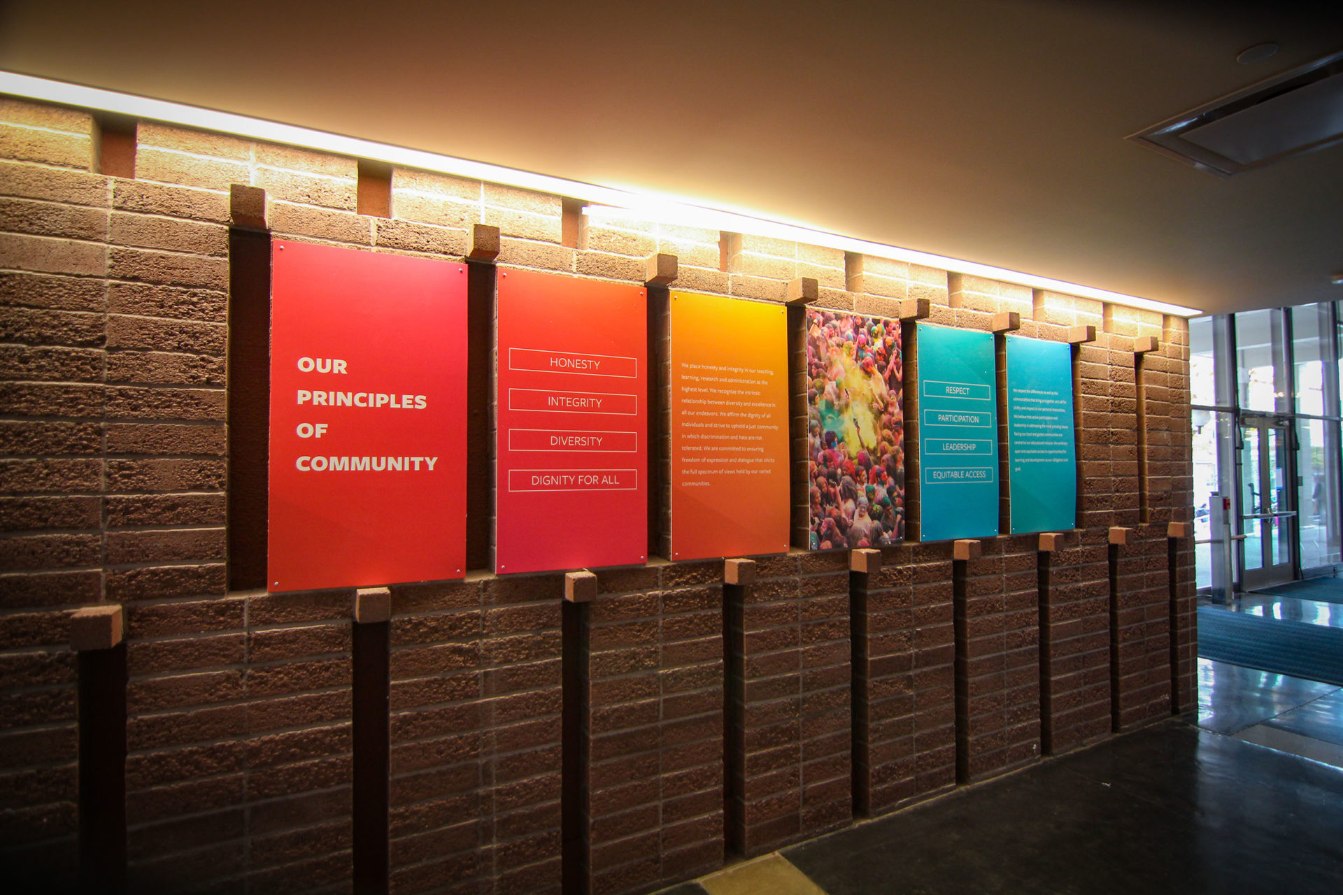 """""""Our Principles of Community"""" is an installation in the ASUC Student Union."""