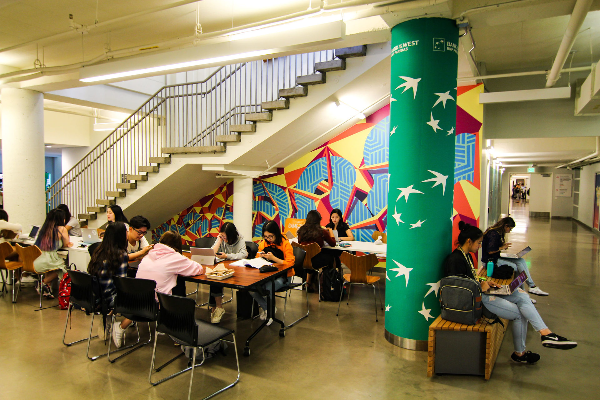 """""""The Creek"""" is a mural on the first floor of the ASUC Student Union."""