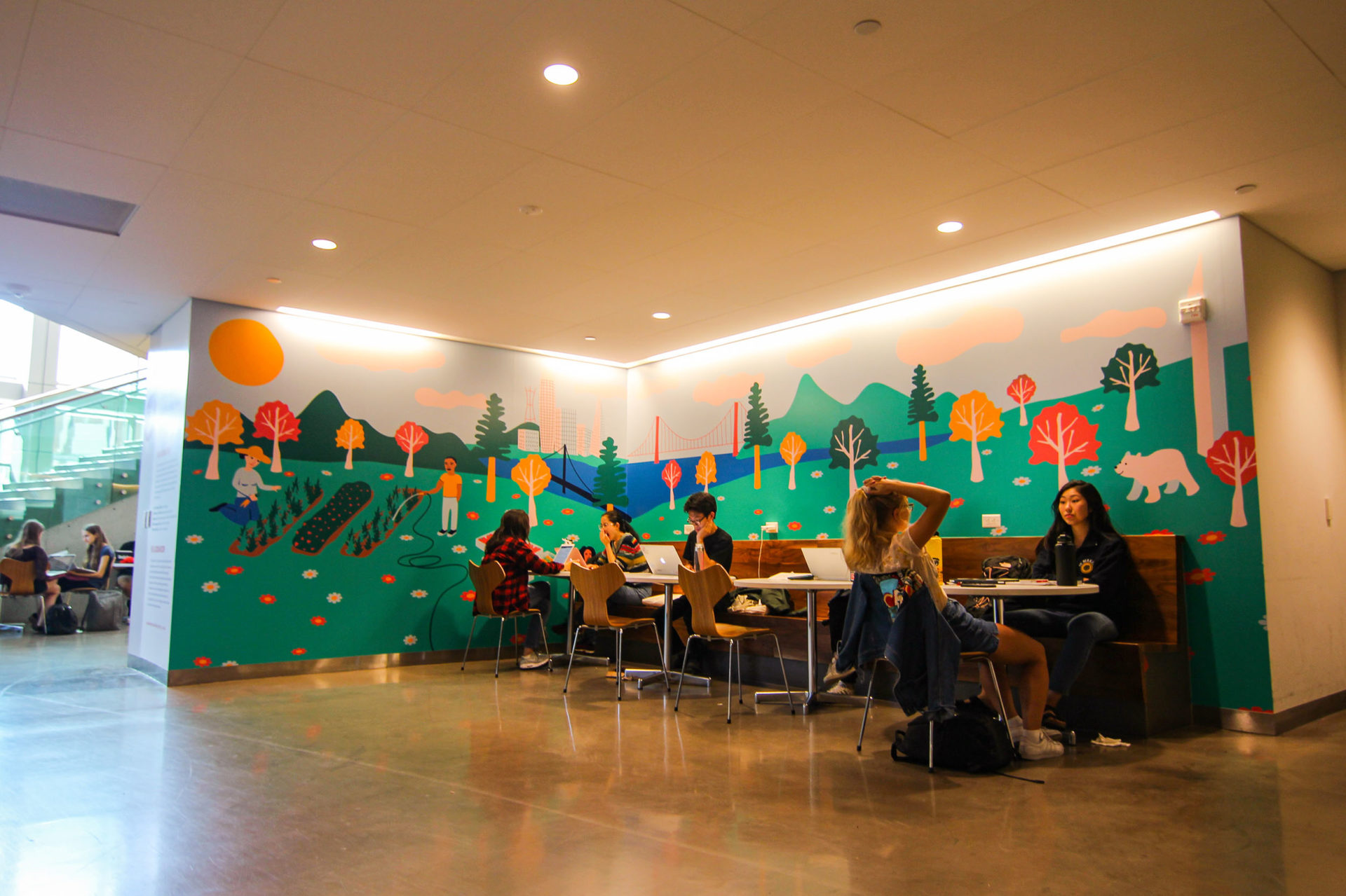 """""""Locally Grown"""" is a mural in the dining room at the ASUC Student Union on the UC Berkeley campus."""